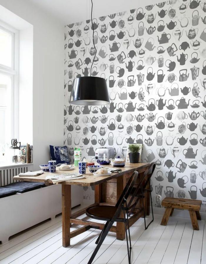Küche-Esszimmer-thematische-originelle-tapete-Idee
