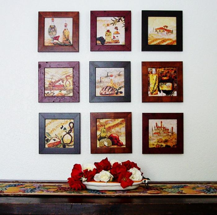 Küche-vintage-Wandgestaltung-Bilder