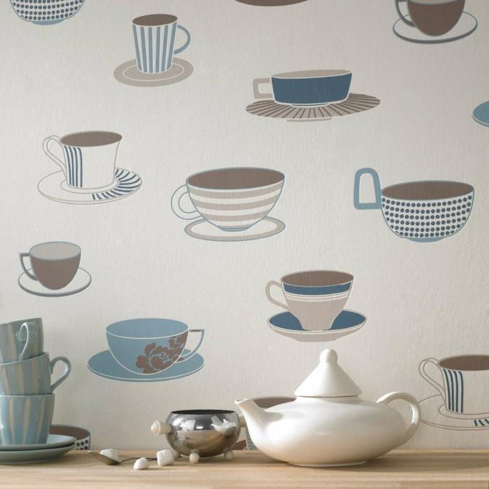 Küchen-Tapeten-Idee-Kaffeetassen-originell-kreativ
