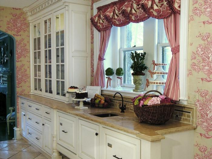 Küchen-Tapeten-romantisches-Muster-elegante-Gardinen