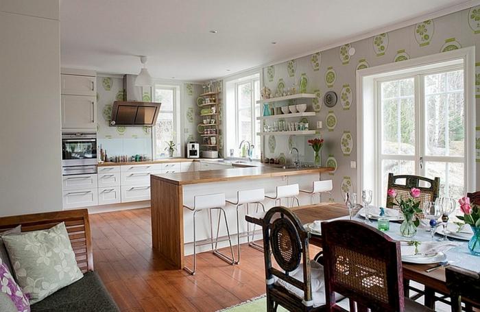 Küchen-Tapeten-schlichtes-Muster-Vasen-schöne-Tischdekoration
