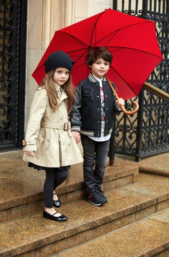 Kinder-Junge-Mädchen-Ralph-Lauren-Mode-schickes-Modell-regenschirm-kinder-rote-Farbe