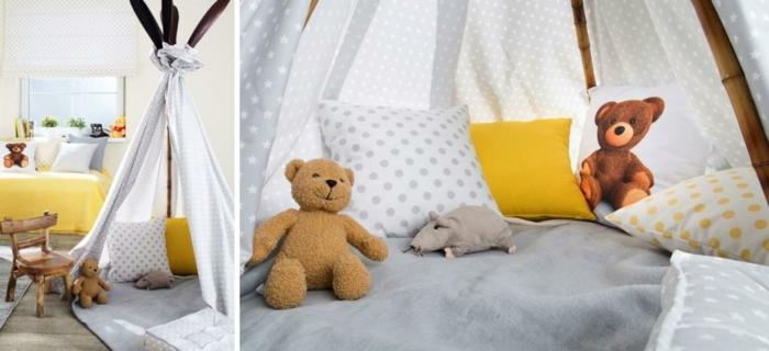 Kinderzimmer-artistische-Gestaltung-im-Zelt-schlafen