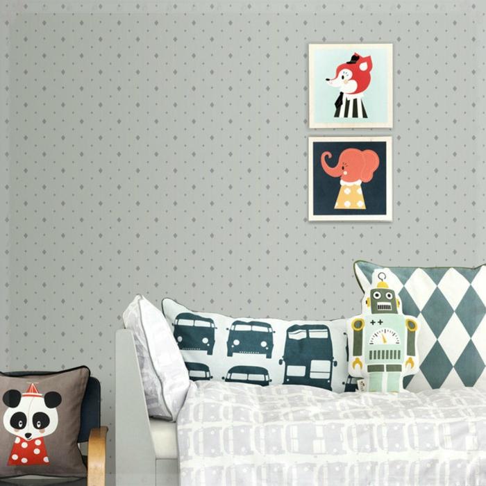 Kinderzimmer-für-Jungen-retro-tapete-grau-kleine-dekorative-Ornamente