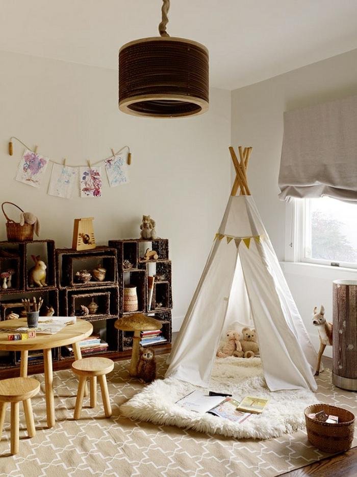 Kinderzimmer-rustikale-Gestaltung-weißes-Tipi-Zelt
