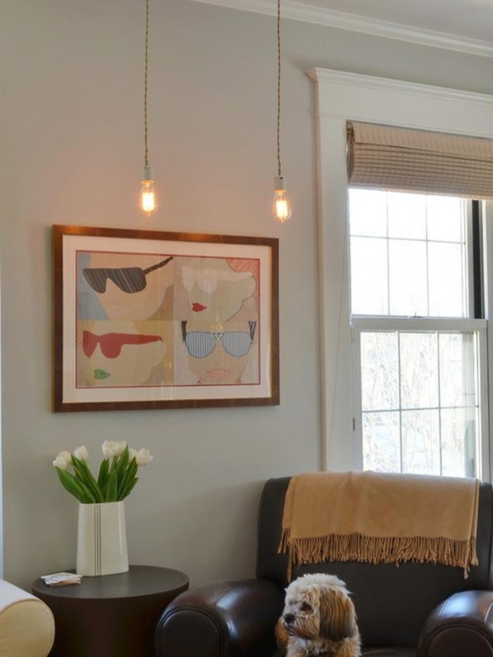 Lampe-Glühbirnenform-zwei-hängelampe-