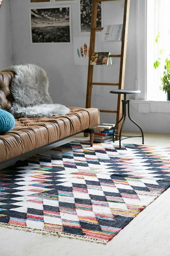 Leder-Sofa-Pelz-vintage-Teppich-buntes-Muster