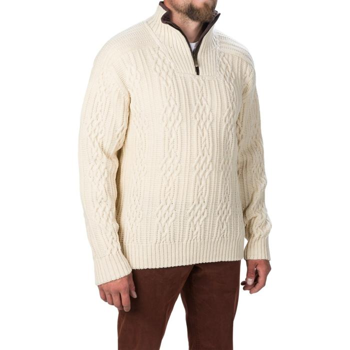 Norweger-Pullover-aus-woll-beige-zip
