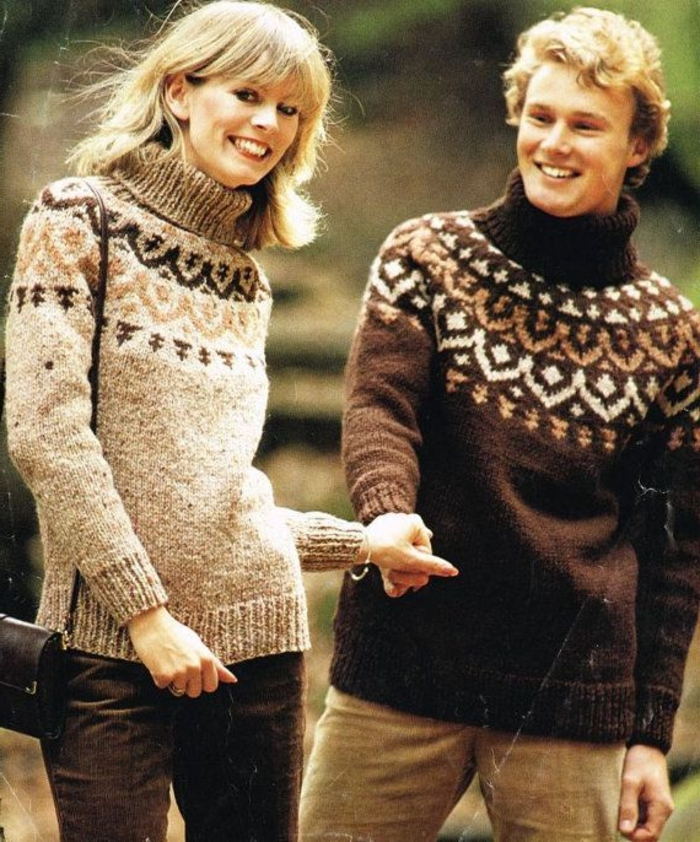 Norweger-Pullover-braun-hell-und-dunkel