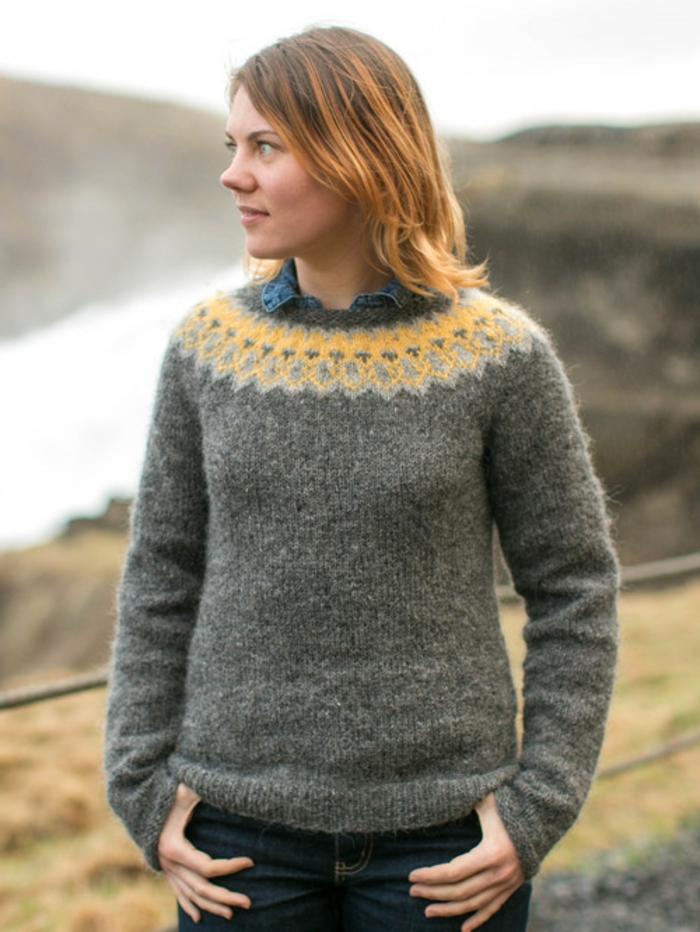 Norweger-Pullover-grau-gelb-für-damen