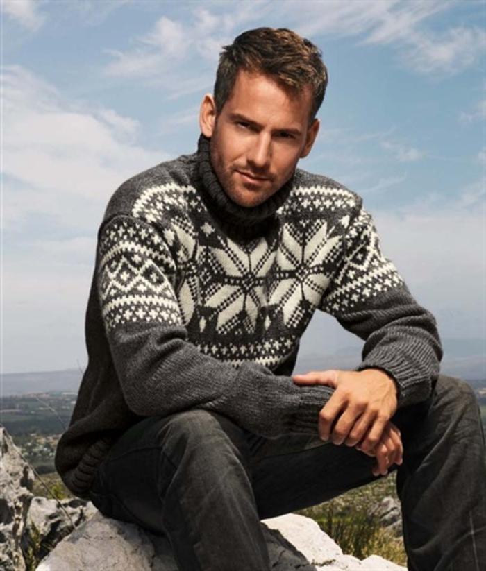 Norweger-Pullover-herren-mit-ornamenten