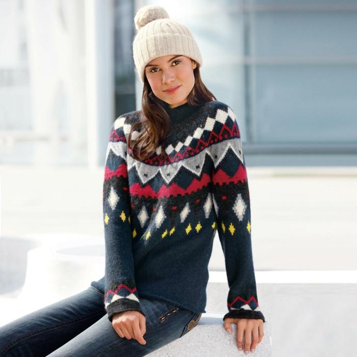 Norweger-Pullover-mütze-jeans