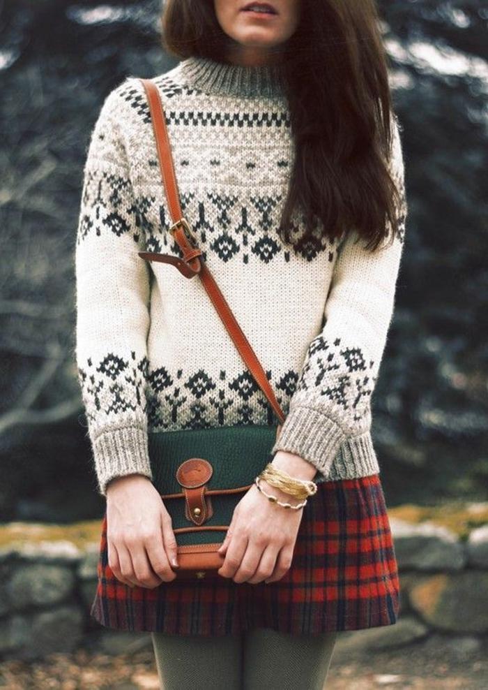 Norweger-Pullover-ornamenten-damen-und-tasche
