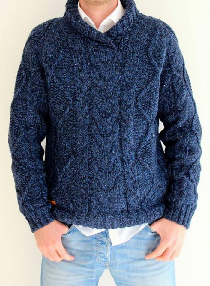 Norweger-Pullover-robust-blau-männer
