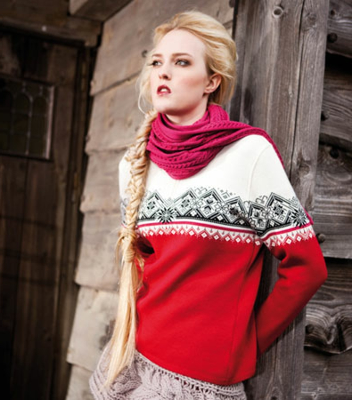 Norweger-Pullover-rot-weiss-rosig-schall-dame