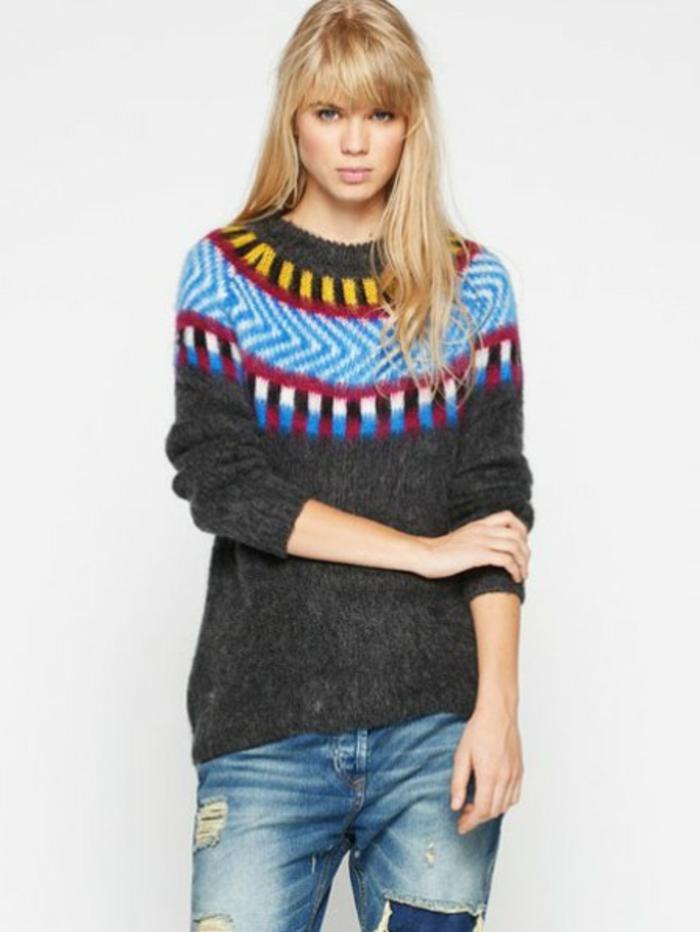 Norweger-Pullover-wolle-damen-in-grau-blau-und-rosa