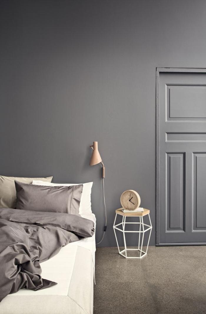Schlafzimmer-modernes-Interieur-Pastellfarben-Lampe-mit-feinem-Design