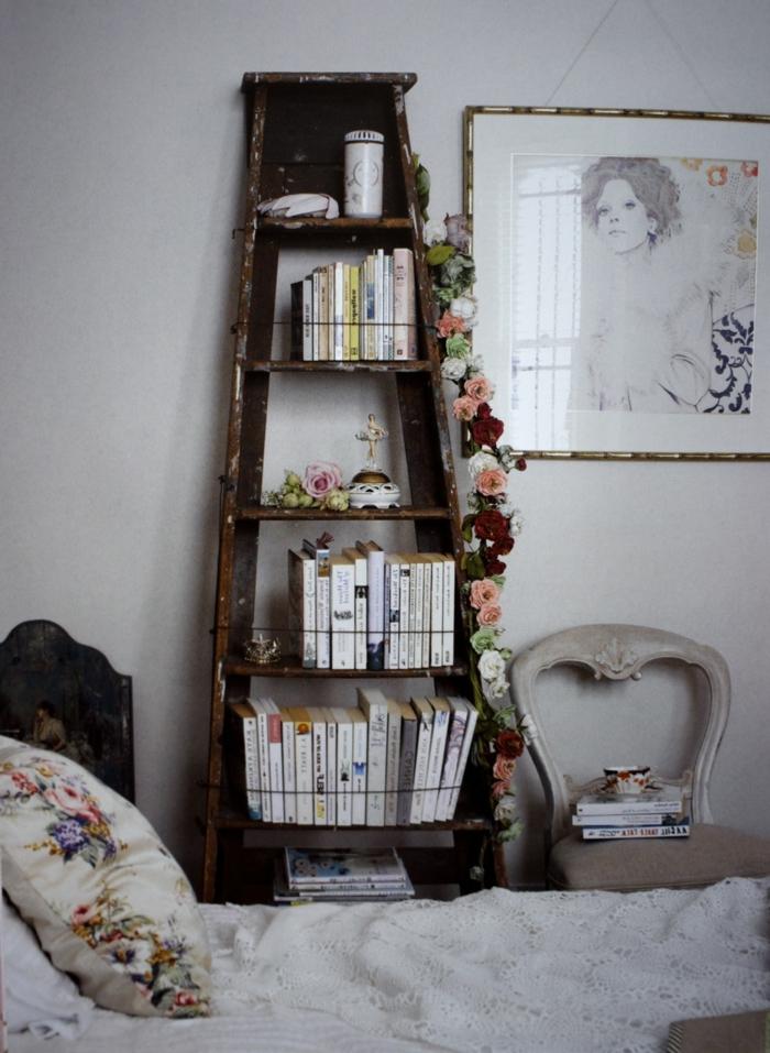 Schlafzimmer-vintage-Gestaltung-Regale-Dekoration