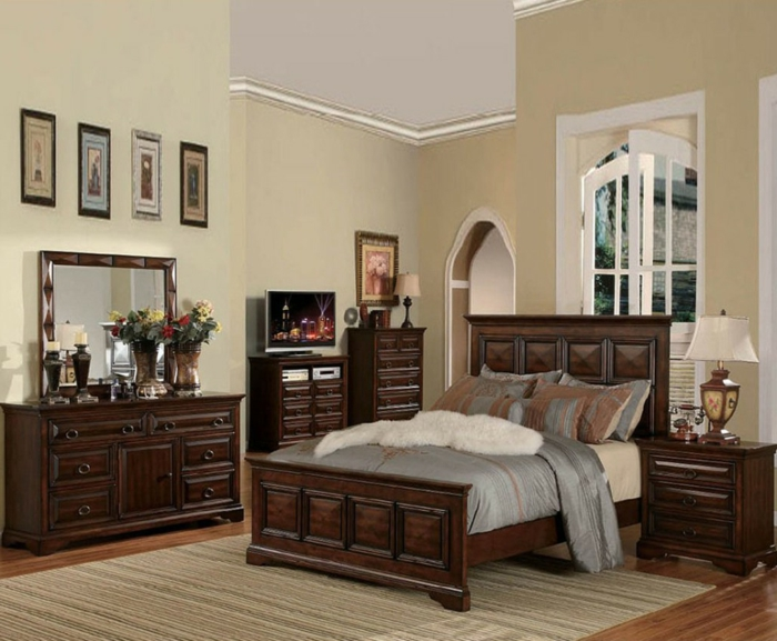Schlafzimmer-vintage-Gestaltung-wunderschöne-hölzerne-Möbel
