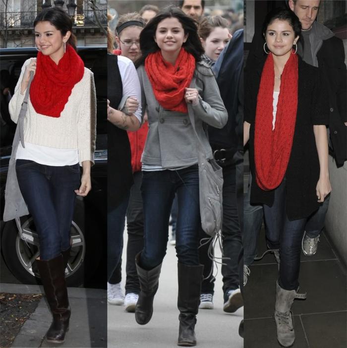Selena-Gomez-schönes-Modell-roter-Schlauchschal