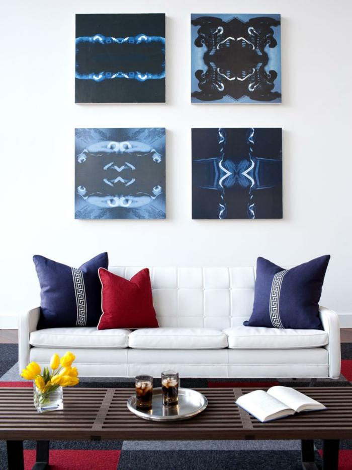 Set-aus-bilder-auf-leinwand-blau-schwarz-abstrakte-Kunst
