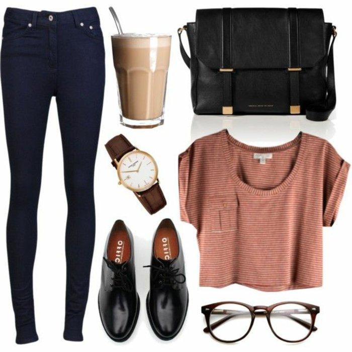 Straßenmode-Frauen-Alltag-Kleidung-Jeans-Top-Oxford-Schuhe-klassisches-Modell-Uhr-Cappuccino-große-schwarze-Tasche-nerd-brille