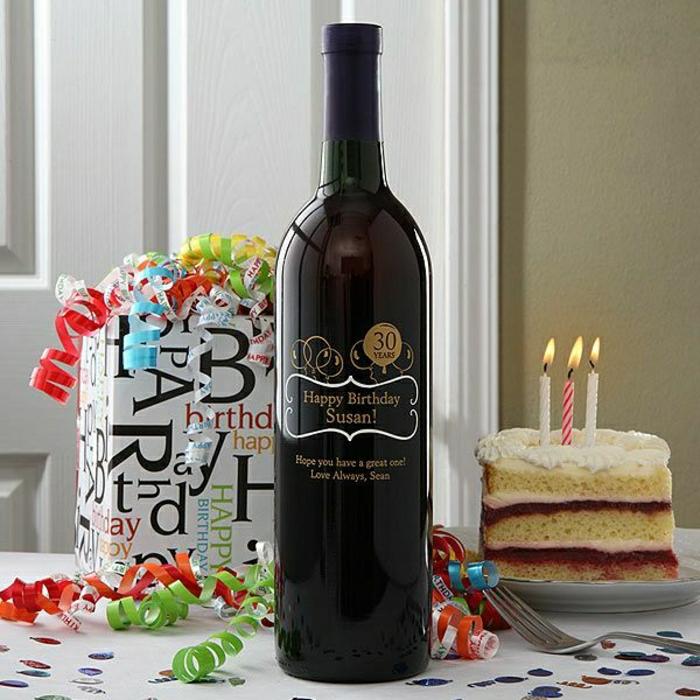 Weinflasche-Kuchen-Geschenke-Party-Dekoration-Girlanden-personalisiert-Geburtstag