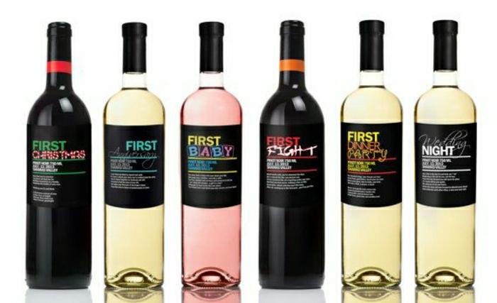 Weinflaschen-verschiedene-Weinsorten-für-spezielle-Ereignisse-Weinetiketten-selbst-gestalten