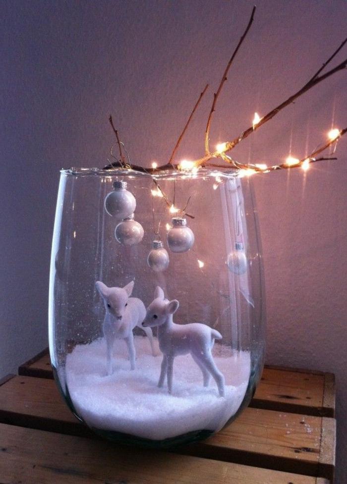 Winter-Deko-zwei-dekorative-Rehe-Schale-künstlicher-Schnee