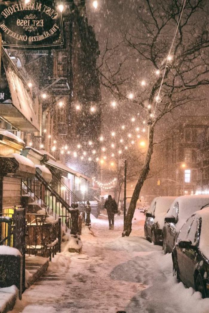 Winter-Nacht-New-York-City-Straßen-Schnee-Leuchten-Dekoration