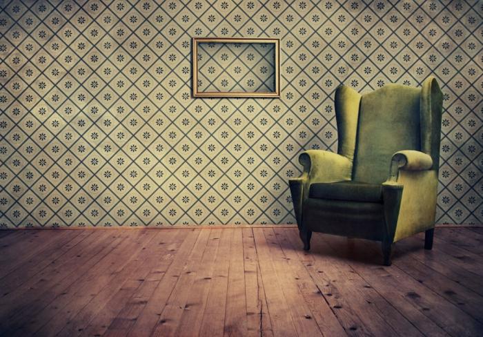 Wohnzimmer-retro-Tapeten-aristokratischer-grüner-Sessel-Samt
