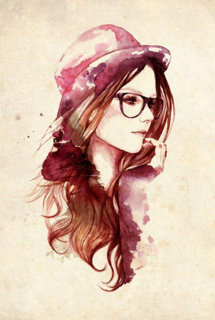 Zeichnung-Hipster-Brille-Hut-Frau