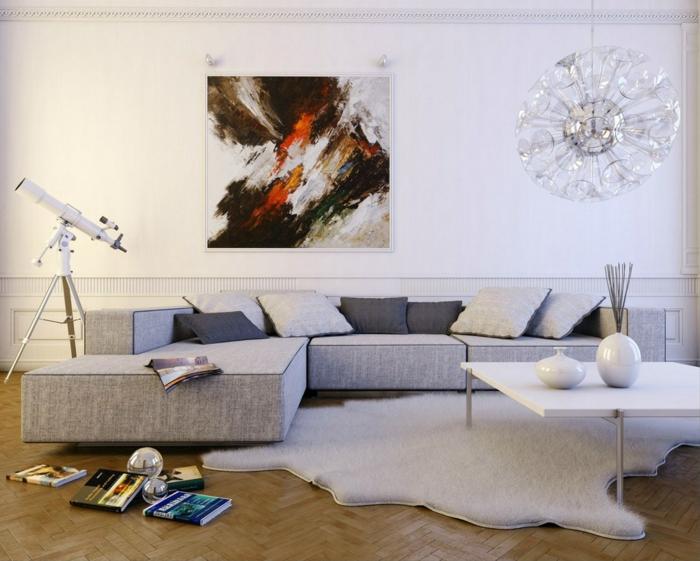 abstrakte-leinwandbilder-schlichtes-Wohnzimmer-Interieur-graue-Nuancen