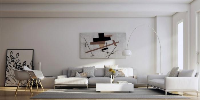 abstrakte-Bilder-fürs-Wohnzimmer-weißes-Wohnzimmer-Interieur-schwarze-graphische-Akzente