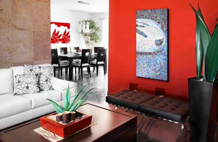abstrakte-wandbilder-pixelierte-Darstellung-rote-Wand-elegantes-wohnzimmer-interieur
