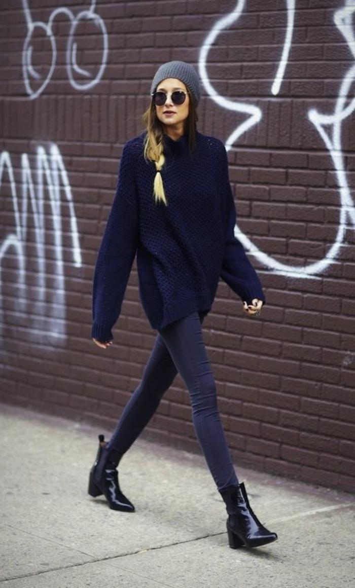 alltäglicher-Outfit-maxi-pullover-Sonnenbrille-schwarze-Jeans