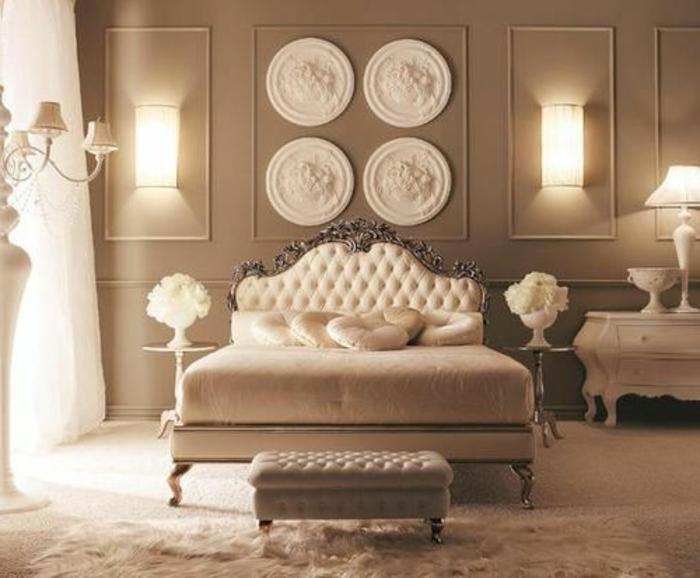 aristokratisches-Schlafzimmer-Design-weiße-Möbel-doppelbett