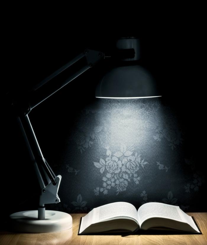 artistisches-Foto-Leselampe-schlichtes-Design-geöffnetes-Buch