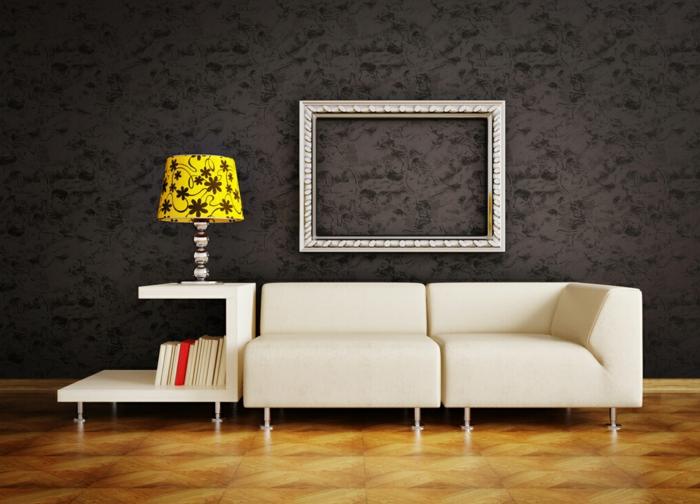 artistisches-Interieur-schwarze-stilvolle-Tapeten-Leselampe-kreatives-Design