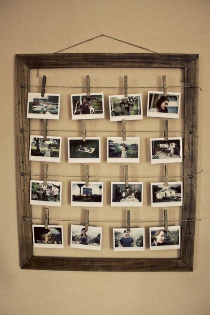 coole-Dekoration-rustikaler-Stil-Rahmen-schwarz-weiße-Fotos-Wäschklammer