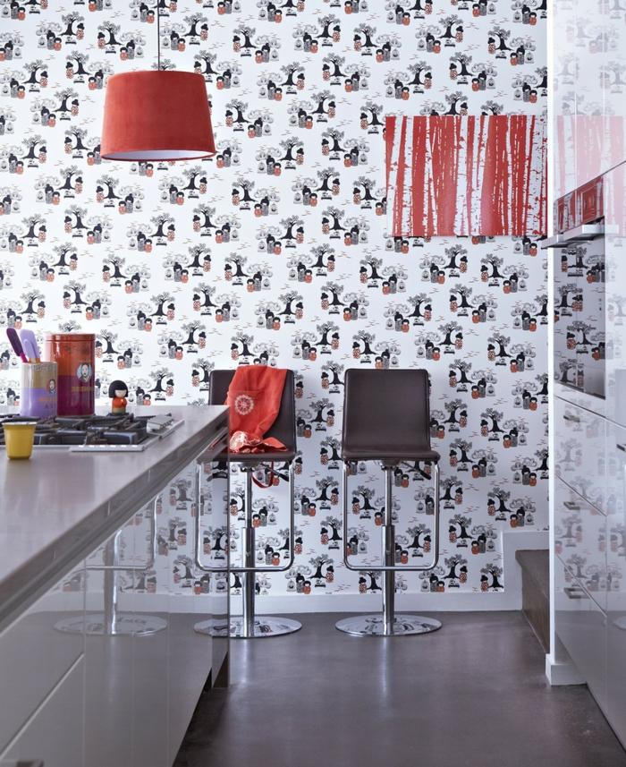 coole-Küchen-Tapeten-lustiges-Muster-rote-Leuchte-modernes-Interieur