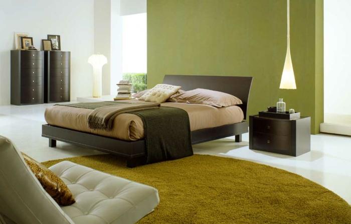 coole-einrichtungsideen-schönes-schlafzimmer-mit-einem-runden-teppich