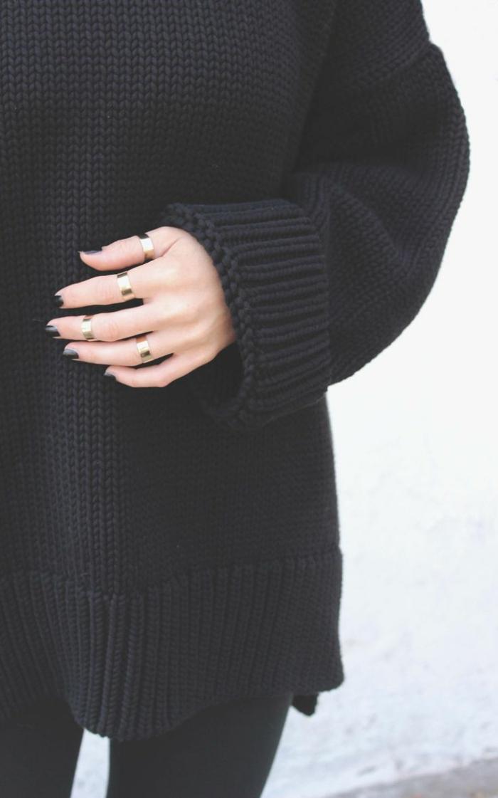 cooles-Modell-maxi-schwarzer-Pullover-Damen