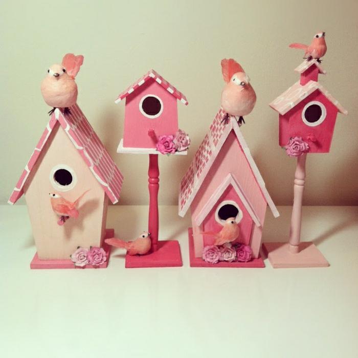 dekorative-vogelhäuser-rosa-Nuancen-kokette-DIY-Idee