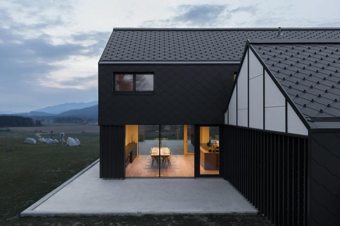 Schon Design Fertighaus Graue Gestaltung Haus Mit Satteldach Moderne ...