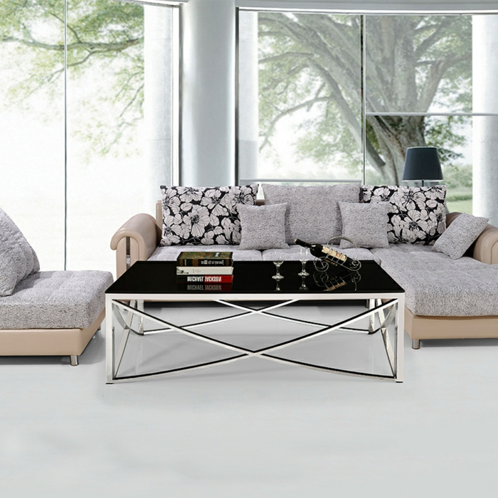 Couchtisch aus Glas und Edelstahl für mehr Eleganz im Raum ...