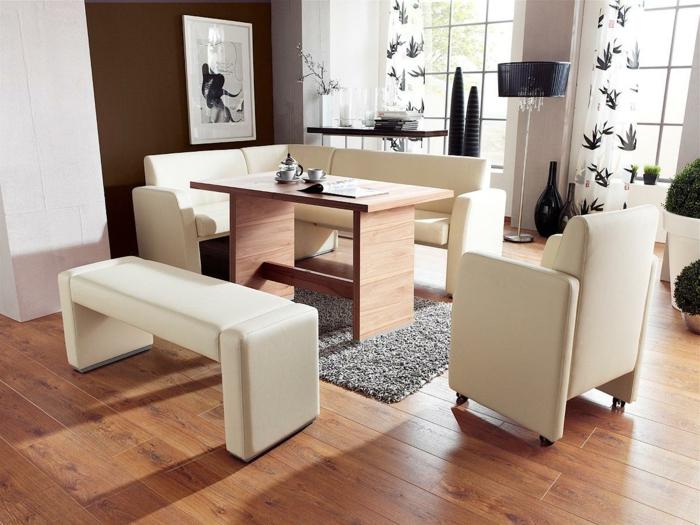 Esszimmer Landhausstil Mit Eckbank ~ Weiße Eckbankgruppen aus Leder für eine schicke Sitzecke in der