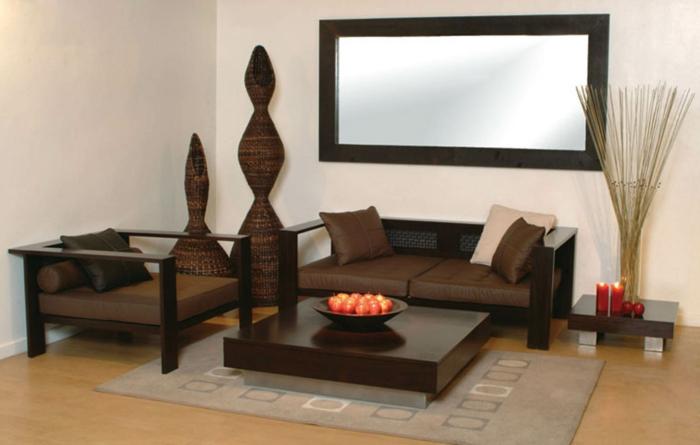 einrichtungsbeispiele-wohnzimmer-großer-spiegel-braunes-sofa