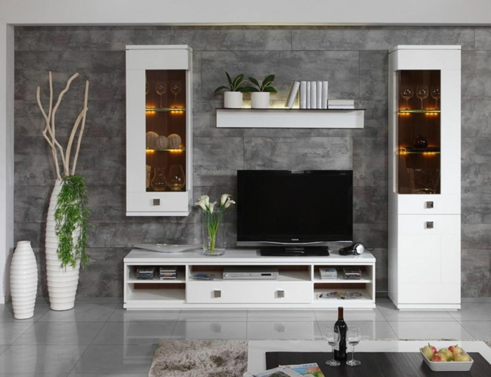 Einrichtungsideen Wohnzimmer Graue Wandgestaltung Weiße Schränke