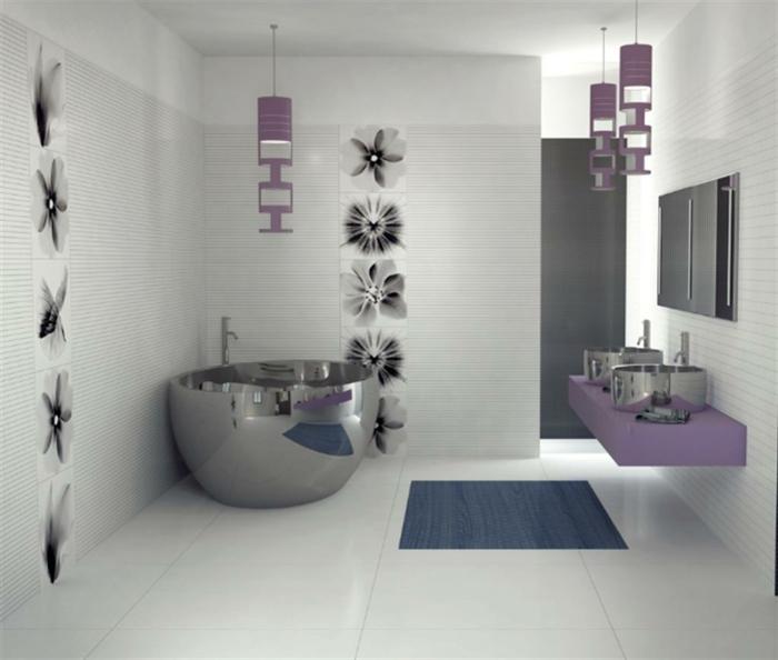 elegantes-Badezimmer-Interieur-lila-Akzente-coole-deko-ideen-hängende-Leuchten